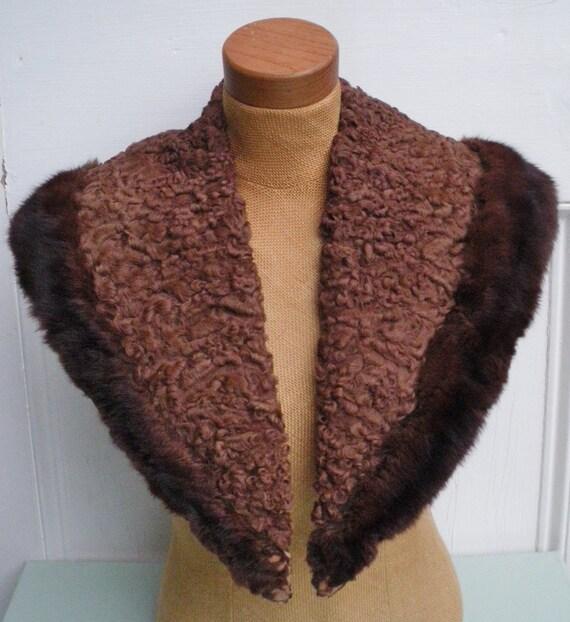 Vintage 1920s 1930s Real Fur and Astrakhan Collar  - Brown