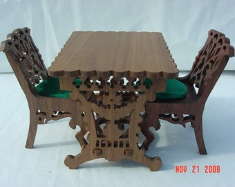 Doll house Walnut dining room set