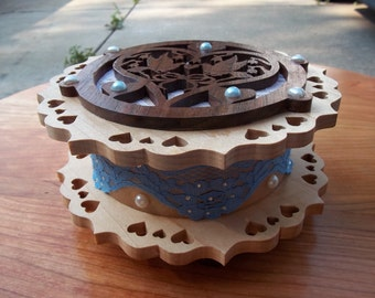 Wood, lace, rinestones and pearls music box