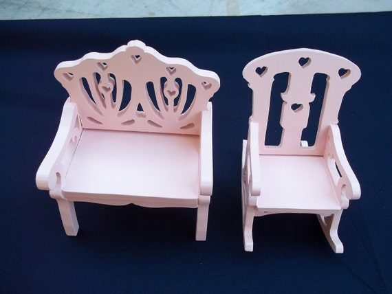 Doll house rocking chair and settee