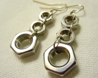 Stainless Steel Hexnut Earrings