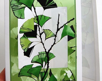 Ginkgo papercut trifold in blues and greens