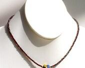 "Adrianna,  handmade, millefiori ""Glitterati"" heart pendant and faceted almandine garnet necklace"