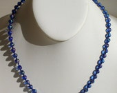 Bonnie Blue  handmade, hand knotted, etched cobolt blue ab glass bead necklace