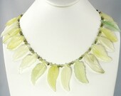 Primavera,handmade,Chinese new jade, hand carved leaf and bead necklace