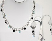 Capriccio, handmade, Swarovski jet and crystal rivolis and sterling silver necklace and pierced earrings SET
