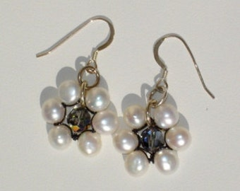 Mallory, handmade, white, 6mm button pearl and black diamond Swarovski crystal, flower, dangle, pierced earrings