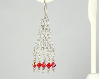 Rosso, handmade sterling silver wire and red Swarovski crystal dangle, pierced earrings