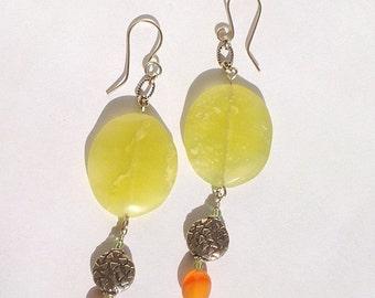 Marguerite, handmade, lemon jasper, peridot, carnelian and silver plate, textured bead, dangle earrings