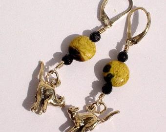 Feline Groovy, handmade, sterling silver cat charm, rhyolite and black goldstone, beaded, pierced earrings