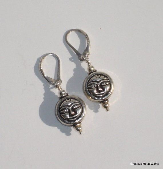 Old Soul, handmade sterling silver and silver tone moon face disc beaded dangle earrings