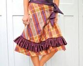SALE - ooak plaid wrap skirt ,fall colours, ruffle and sash