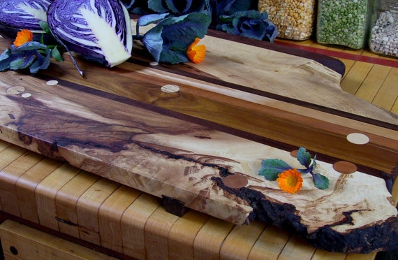 Large Footed Wooden Serving Platter or Cutting Board Featuring Live Edge Hickory and Circle Inlays - Harvest Table Centerpiece