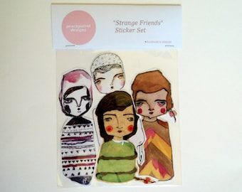 Strange Friends Sticker Set - 4 Extra-Large Handcut Stickers - instant graffiti