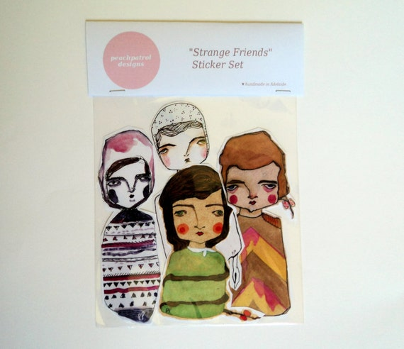 Strange Friends Sticker Set - 4 Extra-Large Handcut Stickers - instant graffiti