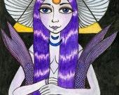 ORIGINAL ART Melusine mergirl ACEO drawing OOAK