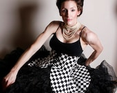 Peplum Skirt, Peplum in Black and White Check, Cincher Skirt, Waist 35-41 inches