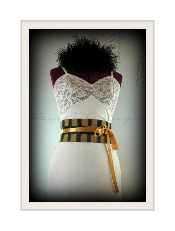 Obi Belt in Gold and Black Stripe--Ready to Ship--