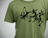 Ethnic African Dancer Organic T-shirt Green Graphic Unisex Men Women Ladies
