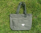 Recycled Tote Bag Olive Green with Pockets by Hinix Tees