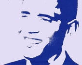 Blue State of Mind - Barack Obama - Digitally Altered Screenprint Postcard