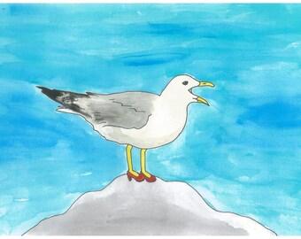 Laverne - Birds in Heels Series - Watercolor Print Postcard