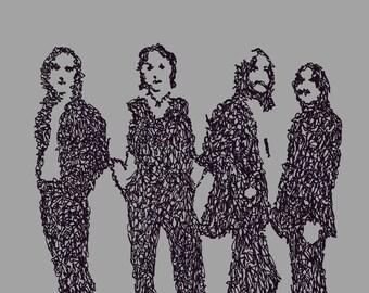 Los Escarabajos - The Beatles - Scribblegraph Art Postcard