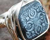 Charcoal. Silver. Filligree. Wire. Wrapped. Ring.