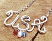 Silver. Aluminum. Wire Written. U.S.A. Necklace.