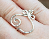 Sterling silver ring, Celtic heart, Custom sized, Wire jewelry