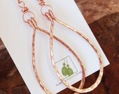 Copper. Large. Hammered. Drop. Earrings.
