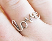 Love ring, Sterling silver ring, Custom sized, Wire jewelry