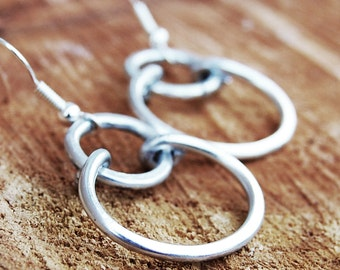 Silver. Aluminum. Double. Hoop. Earrings.