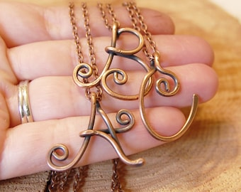 Letter Necklace, Initial, Oxidized Copper, Chain, Personalized Jewelry, Wire Jewelry