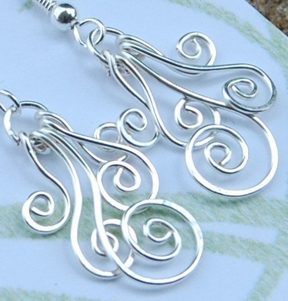 Silver. Plated. Peacock. Spiral. Earrings.