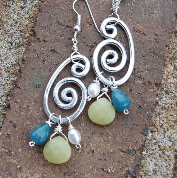 Silver. Aluminum. Spiral. Teal. Lime. Pearl. Earrings.
