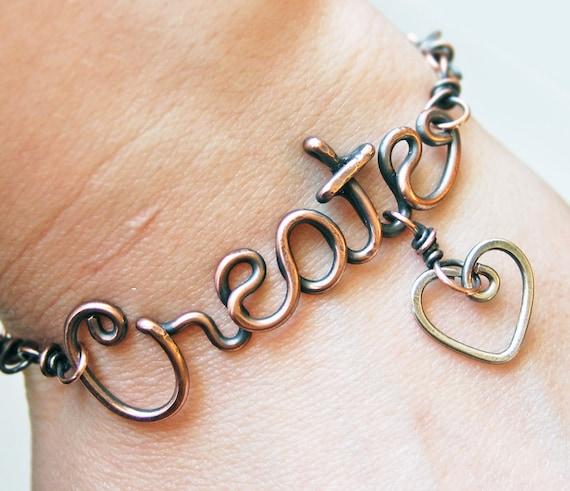 Oxidized. Copper. Wirewrapped. Create. Heart.  Bracelet.