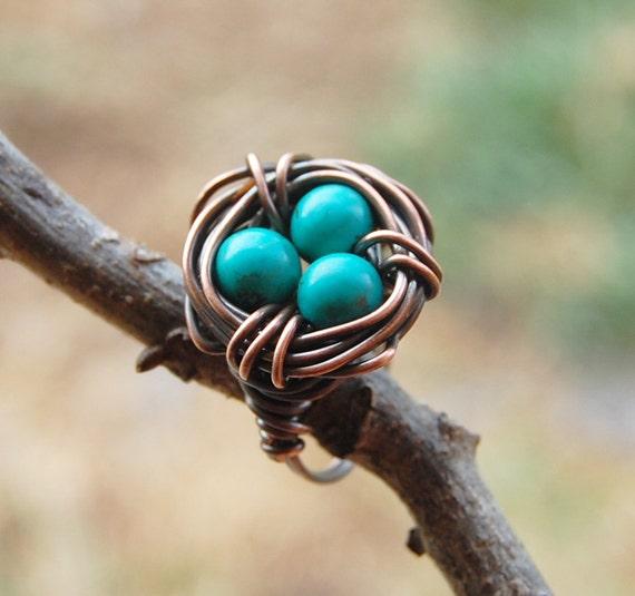 Bird nest ring, Oxidized copper, Turquoise, Custom sized, Wire jewelry