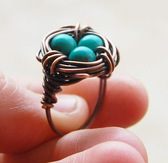 Bird nest ring, Oxidized copper, Turquoise, Custom sized, Wire jewelry