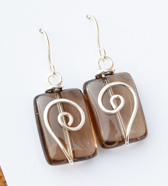 Brown Earrings, Smokey Quartz, Silver Spiral, Small, Wire Jewelry