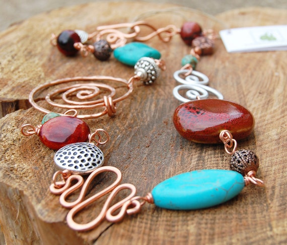 SALE. Red and Turquoise Necklace, Copper and Silver, Aluminum, Hand Linked Necklace, Wire Jewelry