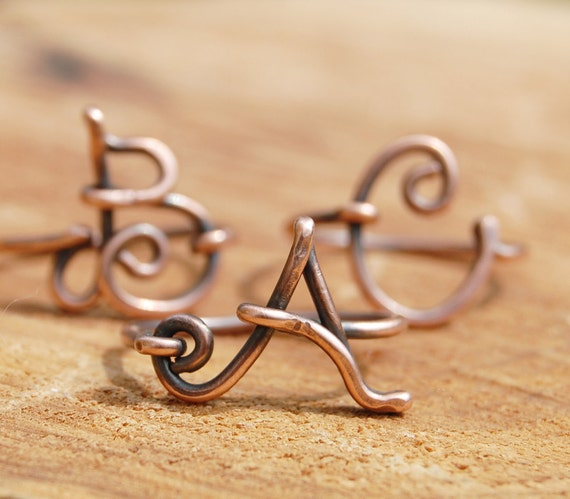 Oxidized. Copper. Letter. Initial. Ring.