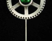 Steampunk Chronometer Gear Stick Pin Green Swarovkski Crystal. Great Steampunk Fashion Accessory