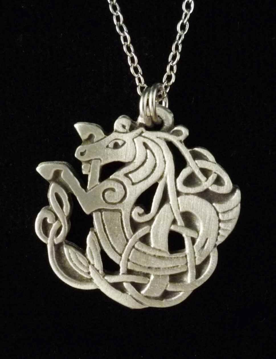 celtic seahorse necklace pendant celtic jewelry by