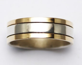 9kt Gold And Silver Mens Wedding Ring