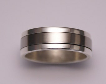 Silver and Titanium Spinning Male Wedding Ring