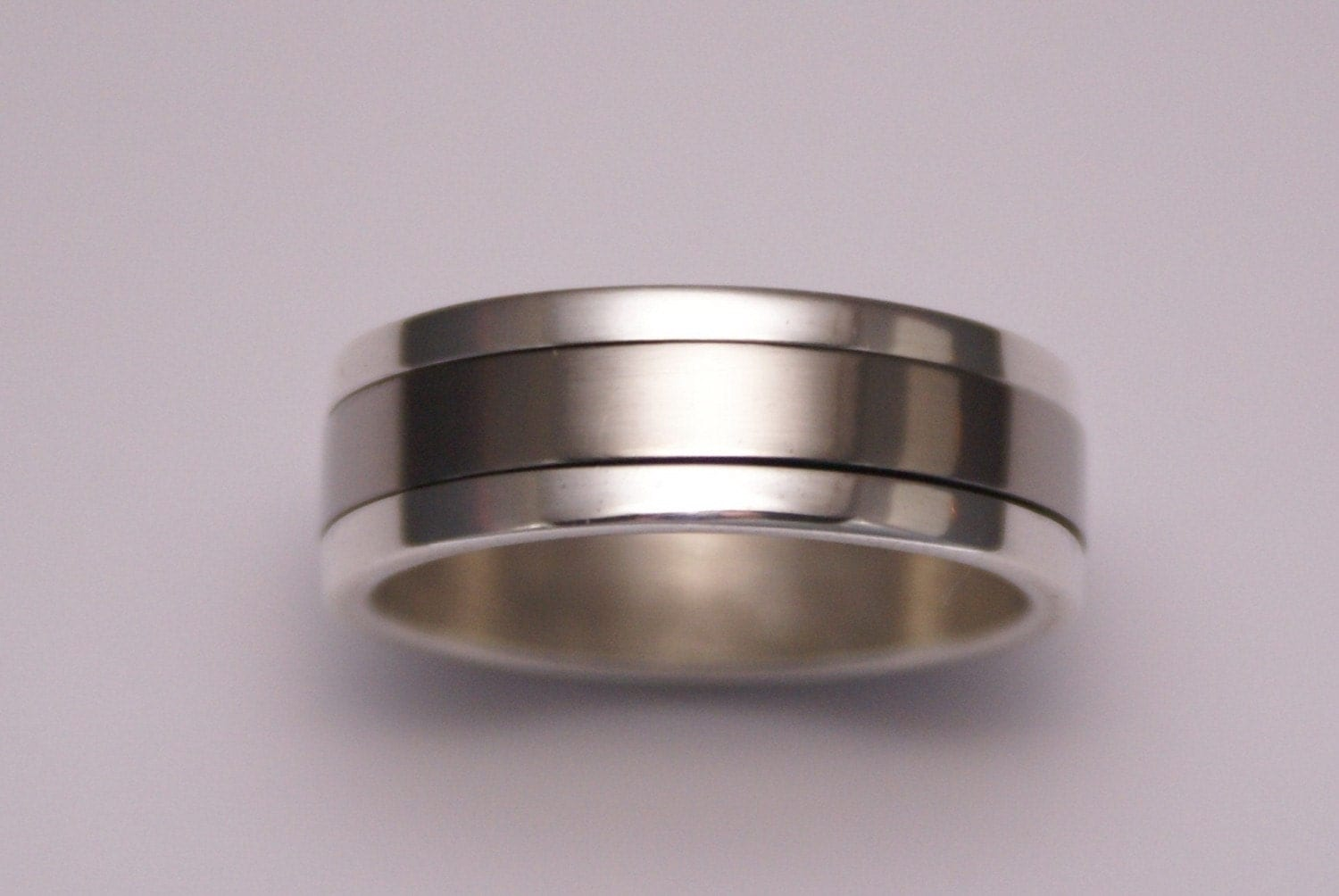 silver and titanium spinning wedding ring