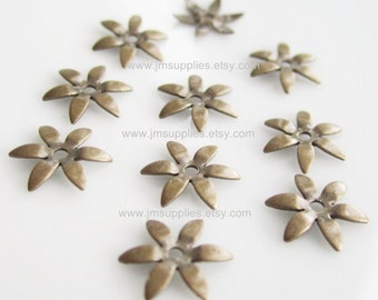 Antiqued Brass Flower Bead Caps 7.5mm