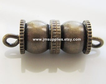 Clasp, Barrel Antiqued Gold 16x8mm Fancy Double Round