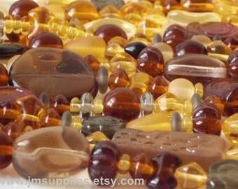 Strung Pressed Glass Bead Mix - Brown Sugar Mix
